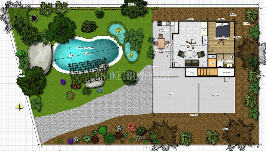 Raw2018 bali style 4 bed 4bath pool villa on huge plot in for Top house plan websites